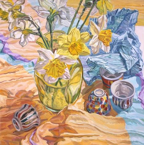Saki Cups, 2002, Oil on canvas
