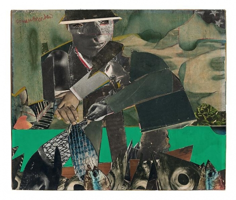 Romare Bearden, Fishing and Crabbing, Three Mile Creek, c. 1965.                                    Collage and colored pencil on board, 9 3/4 x 11 5/8 inches.