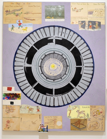 Science and Sentimentality, 2017, Acrylic, collage, and found object on canvas