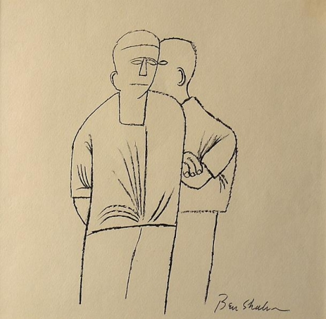 Two Men Ink on paper, 8 3/16 x 8 1/2 inches