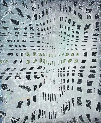 Barbara Takenaga, #3 Black and Silver Grid, 2013.