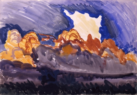 Forest Fire, June 7, 1917, Watercolor and gouache on paper