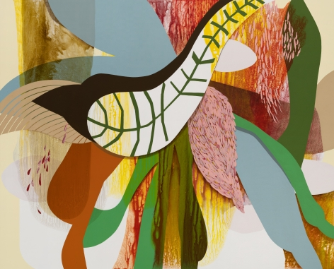 Split Infinities, 2020, Acrylic, sand, and glitter on canvas
