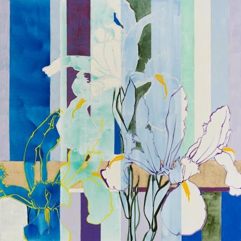 Three Dutch Iris, 2020, Oil, acrylic, and gold leaf on canvas