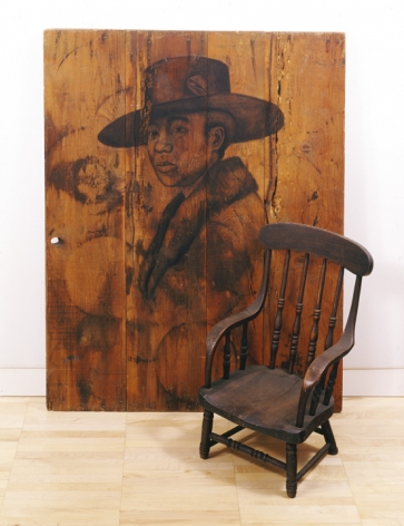 Cada Dia, 2004, Charcoal on wood, chair