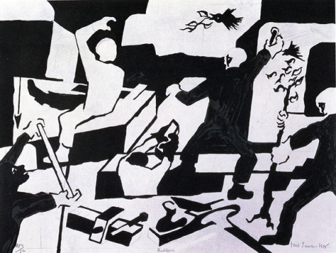 Builders, 1995 Lithograph on Rives BFK Gray