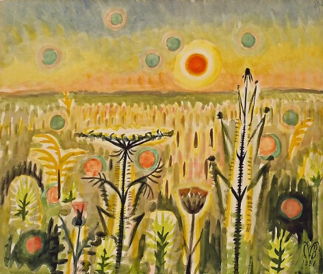 Sunspots, 1951. Watercolor, gouache, and charcoal on paper, 25 x 29 7/8 inches.