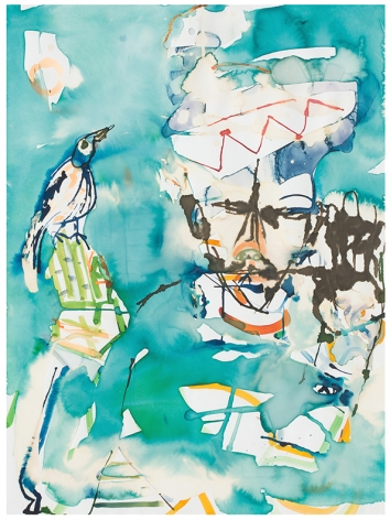 Carnival Figure with Bird, 1984, Watercolor on paper