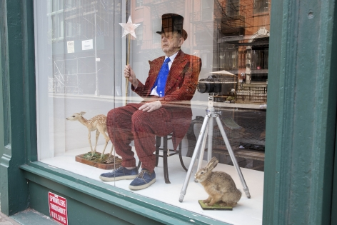 Duane Michals, Taxidermied Duane on Permanent Display in a Shop Window, 2017