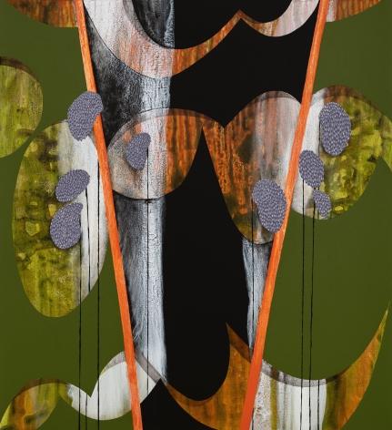 Orange Zone, 2021, Acrylic, sand, and glitter on canvas