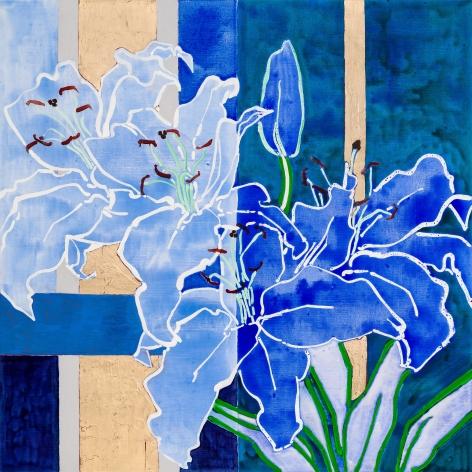 Casa Blanca Blue, 2021, Oil, acrylic, gold leaf on linen