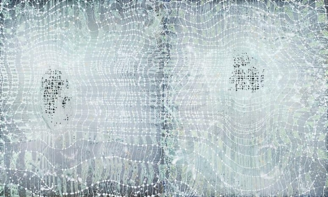 Barbara Takenaga, White Grid on Silver, 2013.