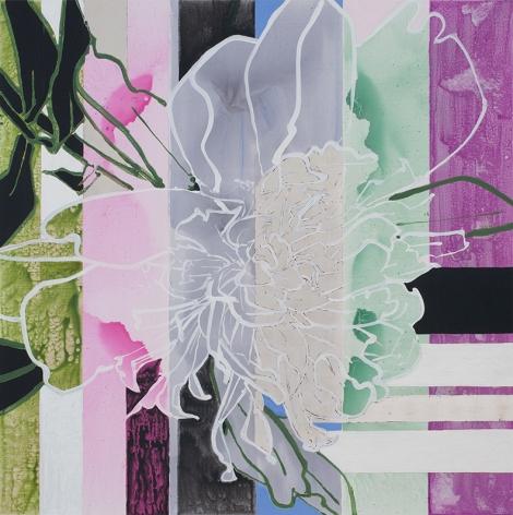 Peony Triumphant, 2016, Oil, acrylic, and palladium leaf on canvas