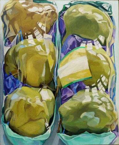 Untitled (Two Packages of Pears), 1969. Oil on canvas, 52 1/4 x 42 in.
