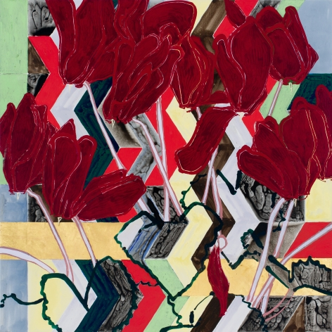 Zig Zag Red Cyclamen, 2017, Oil, acrylic, and gold leaf on canvas