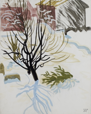 Snow Scene with Black Tree, c. 1916, Watercolor on paper