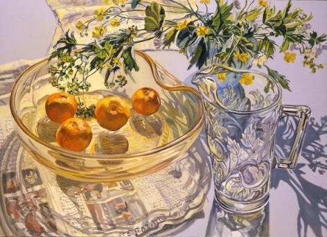 Yellow Glass Bowl with Tangerines, 2007