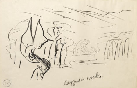 A Blizzard In Woods, n.d., Crayon on paper