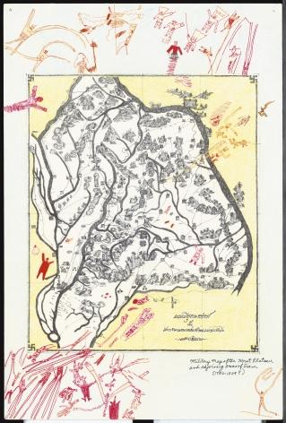 Boys' Art #14: Military Map of the Korat Plateau, 2003, Mixed media on paper