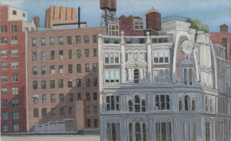 Gilsey House and Broadway Buildings I, 2009, Pastel on paper