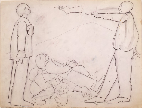 "Jacob Lawrence Study for ""Struggle III - Assassination"", 1965"