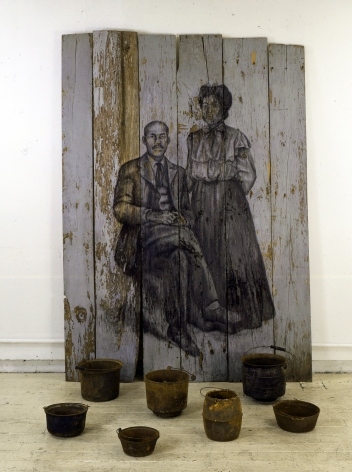 Still, 1999 Charcoal on wood, found objects