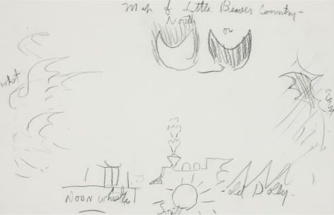 Map of Little Beaver County (Doodle 12), n.d., Charcoal on paper