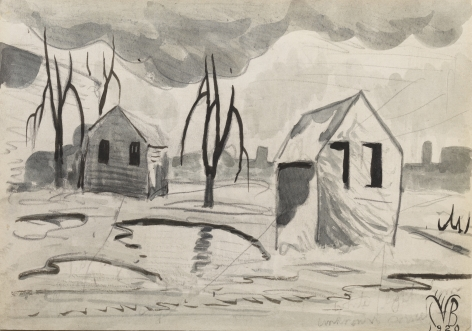 Factory Town Scene, 1920, Ink and graphite on paper