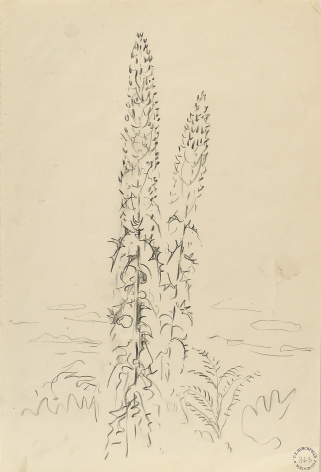 Mullen, From Genesse Road at Moore, September 7, 1963, Pencil on paper