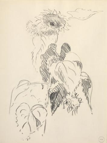 Sunflower Study, c. 1960s, Crayon on paper