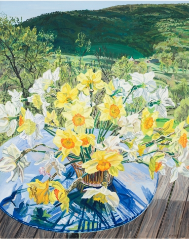 Daffodils and Spring Trees, 1988, Oil on linen