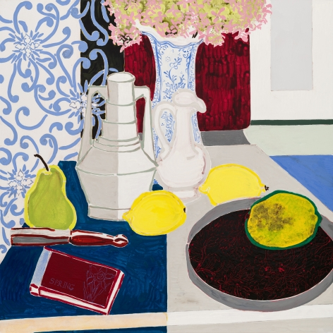 Still Life with Three Vases III, 2020, Oil and acrylic on canvas