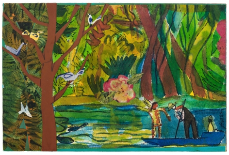 Bayou Fever, The Magic Root (Spotted Deer and the Father), 1979, Collage and acrylic on fiberboard