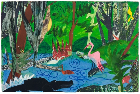 Bayou Fever, The Bayou, 1979, Collage, ink, pencil, and acrylic on fiberboard