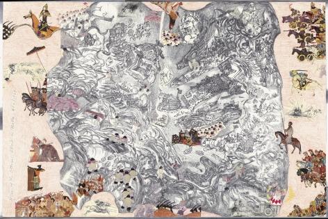 Boys' Art #20: Ottoman Attack on Malta, 972/1565, 2001-02, Mixed media on paper