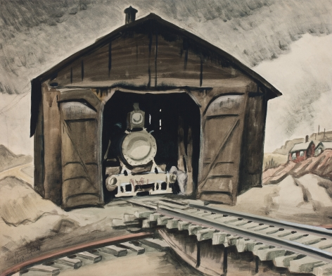 Charles Burchfield Locomotive Shed (Woodburning Locomotive), 1918