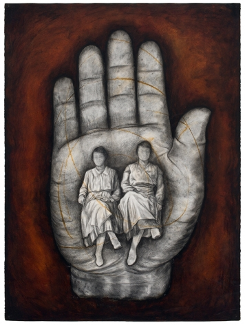 Hand X, 1995, Oil stick and charcoal on paper