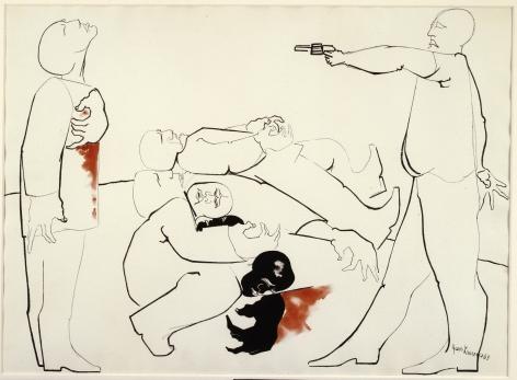 Jacob Lawrence Struggle III - Assassination, 1965