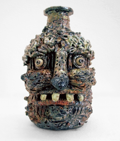 Raku face jug by Rebecca Morgan