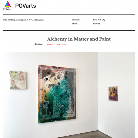 """Installation view of Angelina Gualdoni: """"The Physic Garden"""" in POVArts """"Alchemy in Matter and Paint"""", by Katerina Lanfranco"""