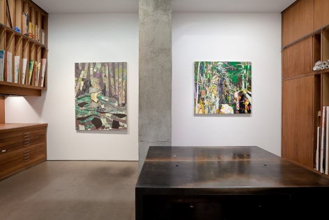"Installation views of ""The Woods are Lovely, Dark, and Deep"""