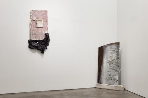 Installation of mixed media works by Julie Schenkelberg