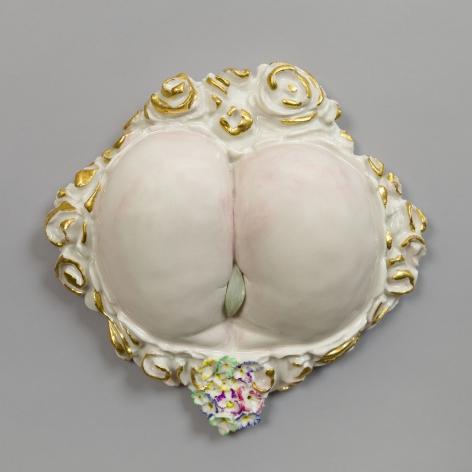 Cheeky, 2012, Porcelain, gold leaf, tin-glaze, on glaze enamels, and jade