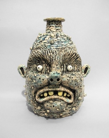 Stoneware face jug by Rebecca Morgan