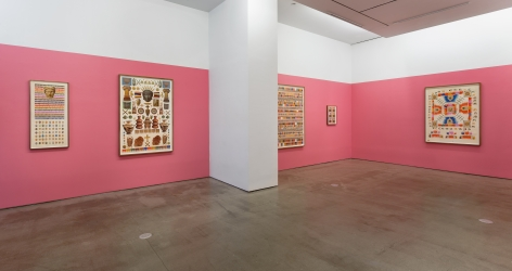 An installation view of Matthew Craven's solo exhibition, in which large and small framed collage pieces are hung on the gallery walls.