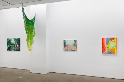 "Installation view of ""Plastic Garden"", a group exhibition of painting and sculpture"
