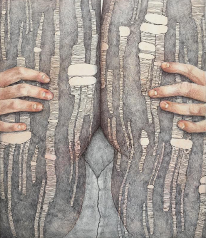 Work on paper, colored pencil and ballpoint pen on paper by Katarina Riesing