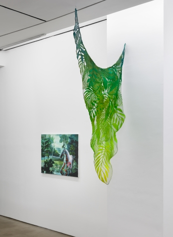 """Installation view of """"Plastic Garden"""", a group exhibition of painting and sculpture"""