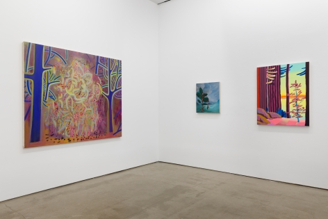 "Installation view of ""Plastic Garden"", a group exhibition of painting and sculpture. There are three paintings"