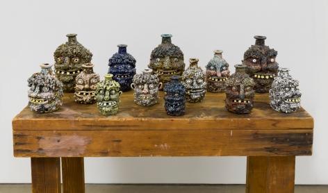 Rebecca Morgan's face jugs on a table